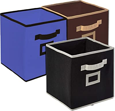Kuber Industries Non Woven Fabric 3 Pieces Foldable Large Size Storage Cube Toy, Books, Shoes Storage Box with Handle, Extra Large (Purple & Brown & Black)-KUBMART1804