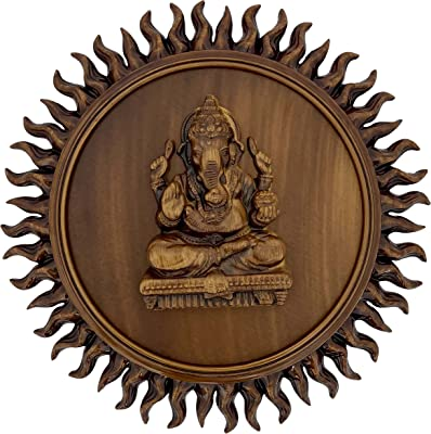 Steven Quartz Sun Rays Shaped Religious Frame to give Your Home a Peaceful and Uplifting Atmosphere (Ganesha)