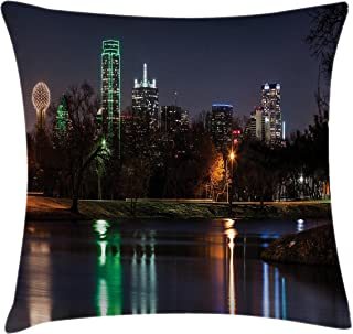 Lunarable USA Throw Pillow Cushion Cover, Dallas City Skyline Reflected in a Lake Park with Trees at Night Landscape Scenery, Decorative Rectangle Accent Pillow Case, 26