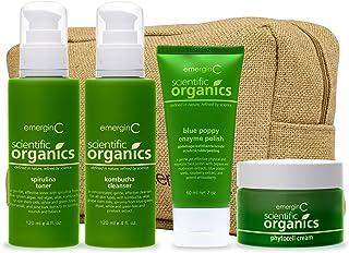emerginC Scientific Organics Natural Skin Care Travel Set - Trial Sized Phytocell Face Cream, Spirulina Toner, Blue Poppy ...