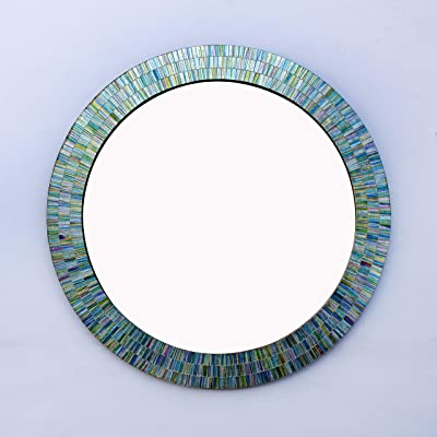 Craftter Mis Green Color Round Mosaic 30 inch Wall Mirror Decorative Hanging Mirror