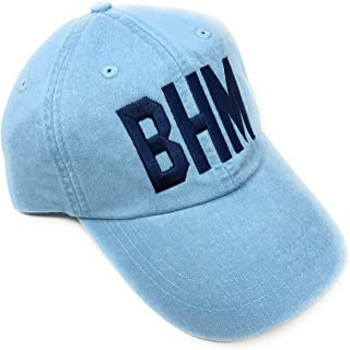 Mary's Monograms Embroidered BHM Birmingham-Shuttlesworth International Airport Code Baseball Hat (Pigment Dyed Baby Blue with Navy Lettering)