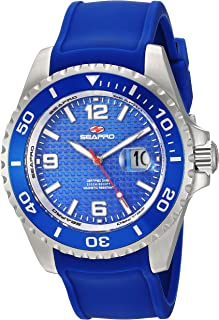 Seapro Men's Abyss 2000M Diver Watch Stainless Steel Quartz Silicone Strap, Blue, 22 Casual (Model: SP0742)