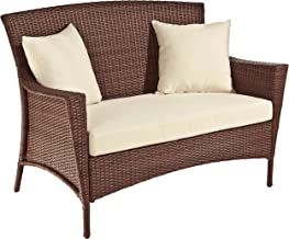 Panama Jack PJO-7001-ATQ-LS Key Biscayne Woven Loveseat with Cushions, Light Beige