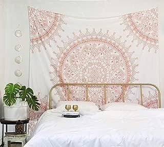 Madhu International Mandala Tapestries Hippie Tapestries Wall Tapestry Mandala Wall Hanging Bohemian Indian Cotton Mandala Bedspread (Queen(84x90Inches)(215x230Cms), Rose Gold)