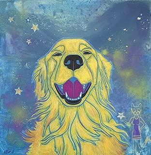 Sunshine Smiles - Golden Retriever Dog Art Warhol Inspired Print by Angela Bond