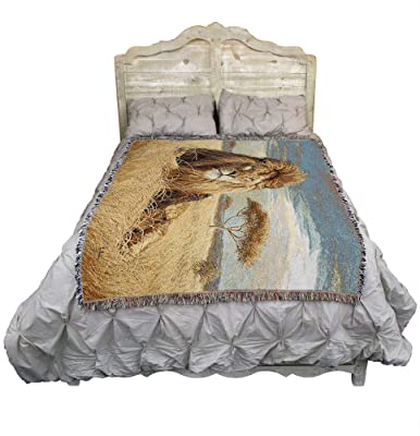 King of The Pride - Lucie Bilodeau - Cotton Woven Blanket Throw - Made in The USA (72x54)