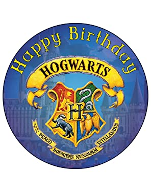 7.5 Inch Edible Cake Toppers – HARRY POTTER HOGWARTS CREST BLUE Themed Birthday Party Collection of Edible Cake Decorations