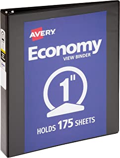 """غلاف إيفري الاقتصادي فيو مزود بحلقة دائرية مقاس 7.62 سم، لون أسود (5740) 1"""""""