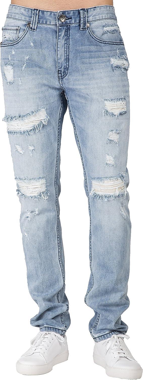 Level 7 Men's Premium Jeans Rare Slim Blue Tapered Light Ripped Leg 5 ☆ popular