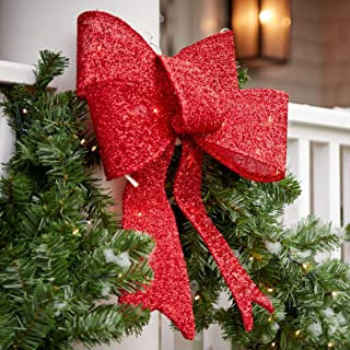 BrylaneHome Set of 3 Pre-Lit Tinsel Bows - Red