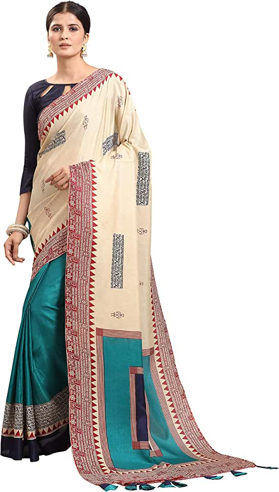 Indian EthnicJunction Women's Khadi Silk Saree With Blouse Piece Saree