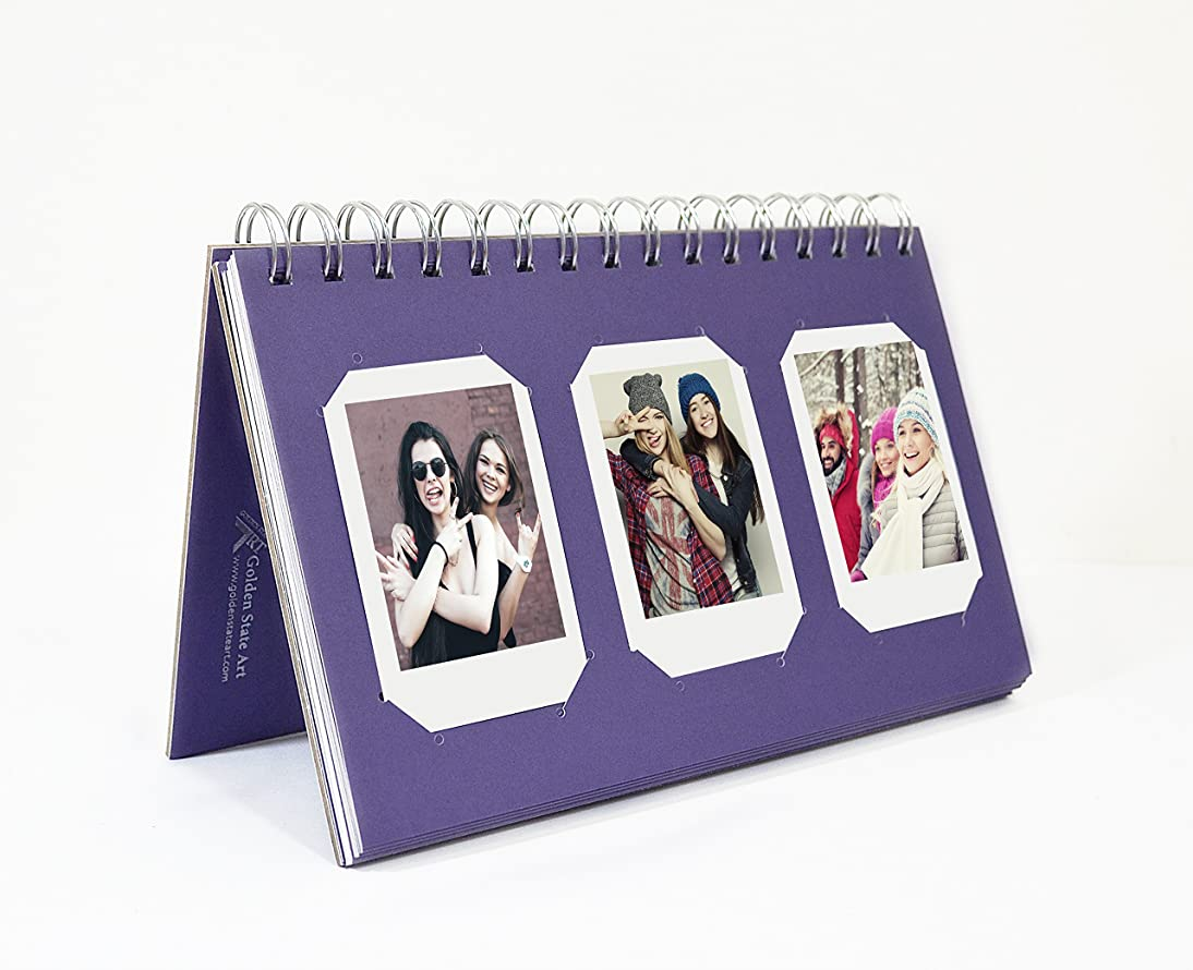 Golden State Art Instax Frames Collection,Photo Album Book Style 60 Pocket for Fuijufilm Instax Mini 7S 8 70 90 25 50S 8+ Film (Purple)