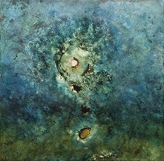 """Impresión artística sobre lienzo hd Pintura Pintura moderna Arte abstracto, 80X80 cm. Luca Bonfanti,""""Génesis verde.azul"""""""""""