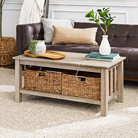 Amazon Com Walker Edison Alayna Mission Style Two Tier Coffee Table With Rattan Storage Baskets 40 Inch Grey Brown Furniture Decor