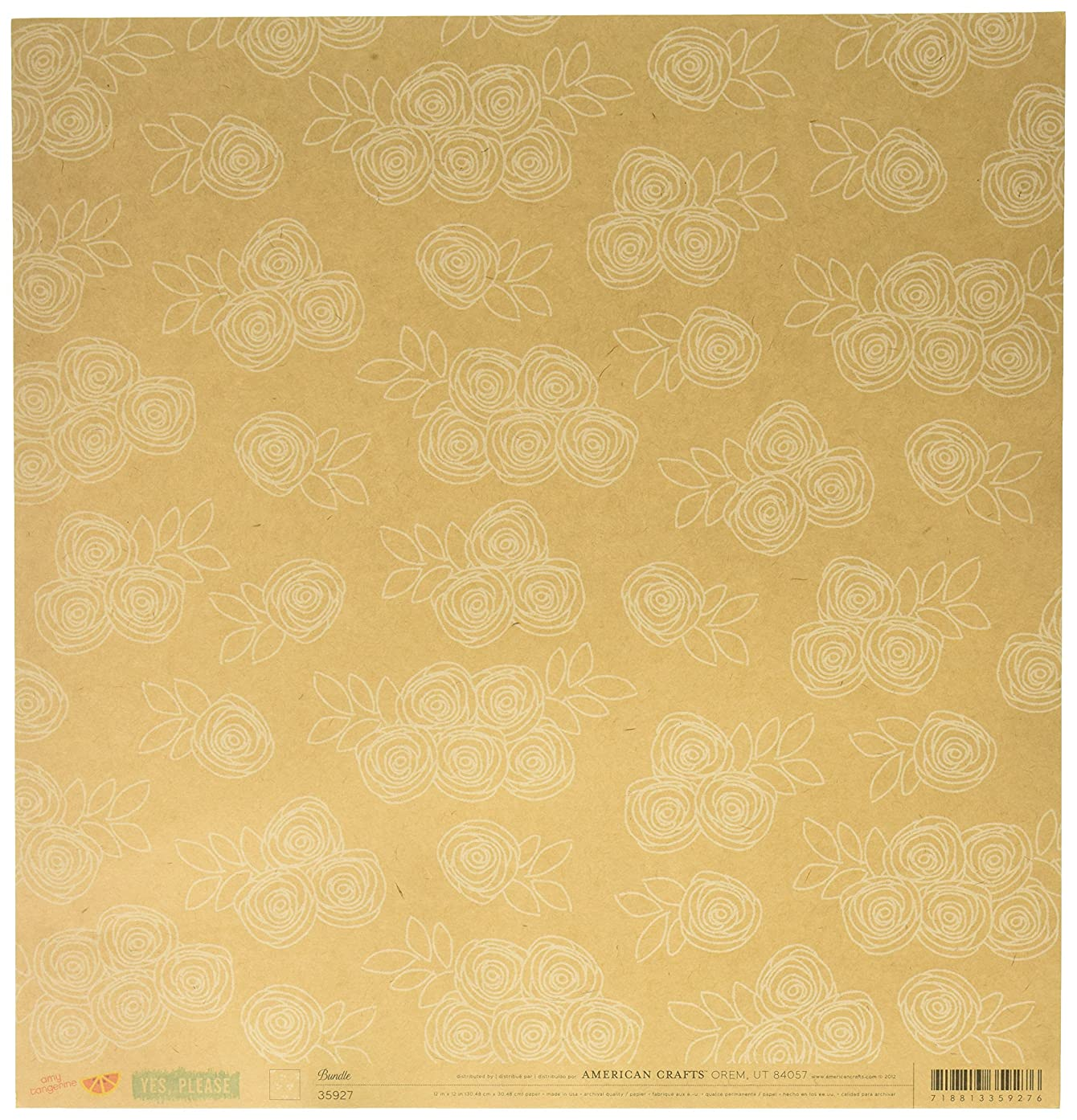 American Crafts Amy Tangerine Yes Please Double-Sided Cardstock 12