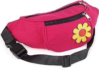 Fuchsia Pink Flower Motif Waist Bag Fanny Pack Money Bum Bag Hip Belt