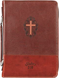 Christian Art Gifts Brown Faux Leather Bible Cover for Men and Women | John 3:16 with Cross | Zippered Case for Bible or Book w/Handle