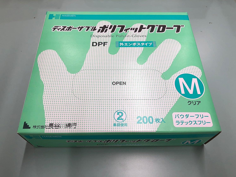 逆ブラケット件名ディスポーザブルポリフィットグローブ クリア 200枚入り (M)