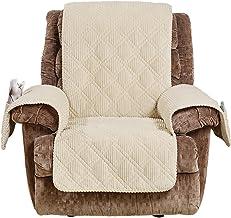 SureFit Wide Whale Recliner, Furniture Cover, Cream
