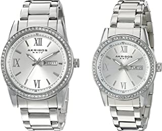 Akribos XXIV Men's and Women's Watch Matching Set - His and Her and Crystal Filled Watch Roman Numerals with Date Window on Stainless Steel Bracelet - AK888