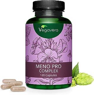 Suplemento Menopausia Vegavero® | Aceite de Onagra + Manzanilla + Lúpulo + Salvia + Melisa | 120 Cápsulas | Sofocos + Sudoración + Dolor de Cabeza | Sin Aditivos | Para Mujer | Meno Pro Complex