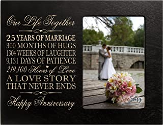 LifeSong Milestones Twenty Five Year for him her Couple Custom Engraved 25th Year Wedding Celebration for Husband Wife Girlfriend Boyfriend Photo Frame Holds 1 4x6 Photo 8