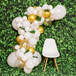 DIY White Balloon Garland Kit - Balloon Arch Kit with White and Gold Balloons, Palm Leaf, Gold Confetti Balloons for Parties - Small and Large Balloons, Balloons Arch Big Large White Balloons