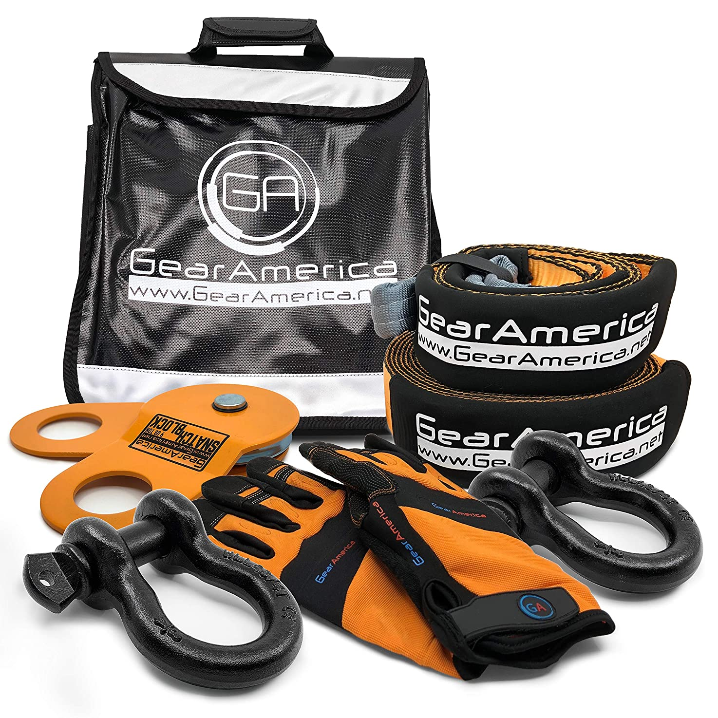 GearAmerica Off-Road Recovery Kit | Tow Strap + Tree Saver + Heavy Duty Snatch Block Pulley + D-Ring Shackles + Winch Line Dampener Bag + Recovery Gloves | Ultimate 4x4 Winching & Rigging Accessories prefsftbbouxb2
