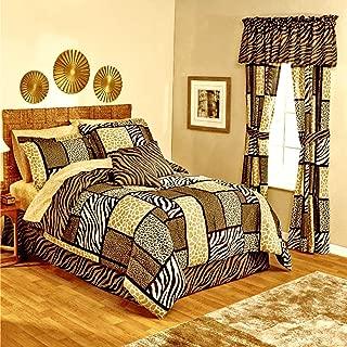 Safari Zanzibar Zebra Stripe Giraffe Leopard Animal Print Patchwork Black Brown Tan Comforter Set Ensemble + Two TOSS Pillows! (10pc King Size)