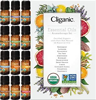 Cliganic USDA Organic Aromatherapy TOP 12 Essential Oils Set, 100% Pure - Peppermint, Lavender, Eucalyptus, Tea Tree, Lemo...