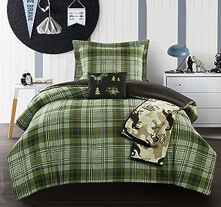 Chic Home Gerber 5 Piece Comforter Set Stitched Patchwork Plaid Dinosaur Theme Youth Design Bedding-Throw Blanket Decorati...