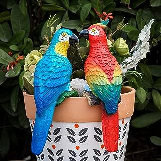 TERESA'S COLLECTIONS 7.5 Inch Fairy Garden Parrot Flower Pot Hugger Decorations, Outdoor Patio Lawn Yard Gardening Bonsai Resin Decor Planter Statue(Set of 2)