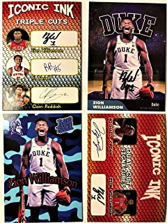 2019 ZION WILLIAMSON Rookie Card Lot - (4) Custom Zion Rookie Basketball Cards - Triple Iconic Ink, Dual, Rated Rookie and Duke Fac. Autograph