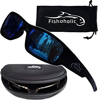 Fishoholic Polarized Fishing Sunglasses (4 Options) with Free Lens Cleaning Pouch & Hard Case UV400 100% UV Protection. Gr...