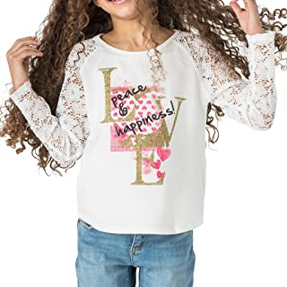 FashionxFaith Girls Long Sleeve Shirts - Allison Raglan Lace Top Tees Clothes, Made in USA