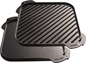 Lodge LSRG3 Cast Iron Single-Burner Reversible Grill/Griddle, 10.5-inch Black