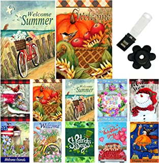 Country Charm Seasonal Garden Flag Set of 10-12x18 Inch Double Sided Yard Flag with Free Anti-Wind Clip and Stopper for Ou...