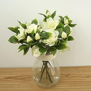 COOBL Artificial Silk Flower Senior Decoration Gardenia Flowers Wedding Bouquet Bride Holding Garlands Vine DIY Floral Art Plant Bride Home Decor(6pcs) (White)