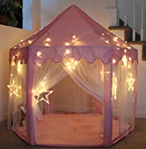 LHinsights Princess Castle Play Tent With LARGE STAR LIGHTS, Large Indoor and Outdoor Pink Kids Pretend Playhouse for Girls