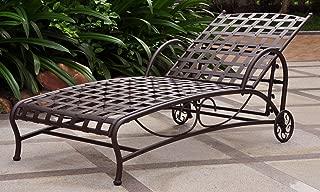 International Caravan Iron Bronze Multi-Position Patio Chaise Lounger