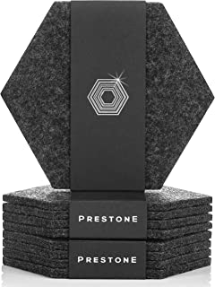Coasters For Drinks Set of 9 | Absorbent Felt Coasters With Double Holder And Unique Phone Coaster | Premium Package, Perfect Housewarming Gift | Protects Furniture (Hexagon, Charcoal)