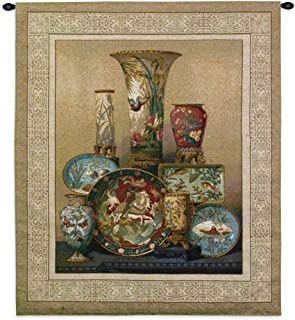 Elkington's Cloisonne | Woven Tapestry Wall Art Hanging | East Asian Themed Fine Cloisonne Dish Ensemble | 100% Cotton USA Size 38x35