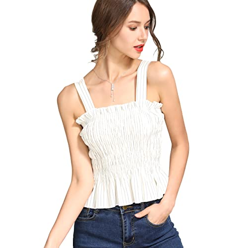 fc408a4eacd730 KAMISSY Women Smock Tank Top Chic Ruffle Hem Strap Vest Cami Top