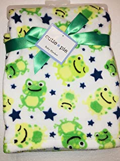 Cutie Pie Baby Super Cute & Soft Baby Blanket with Frogs, white