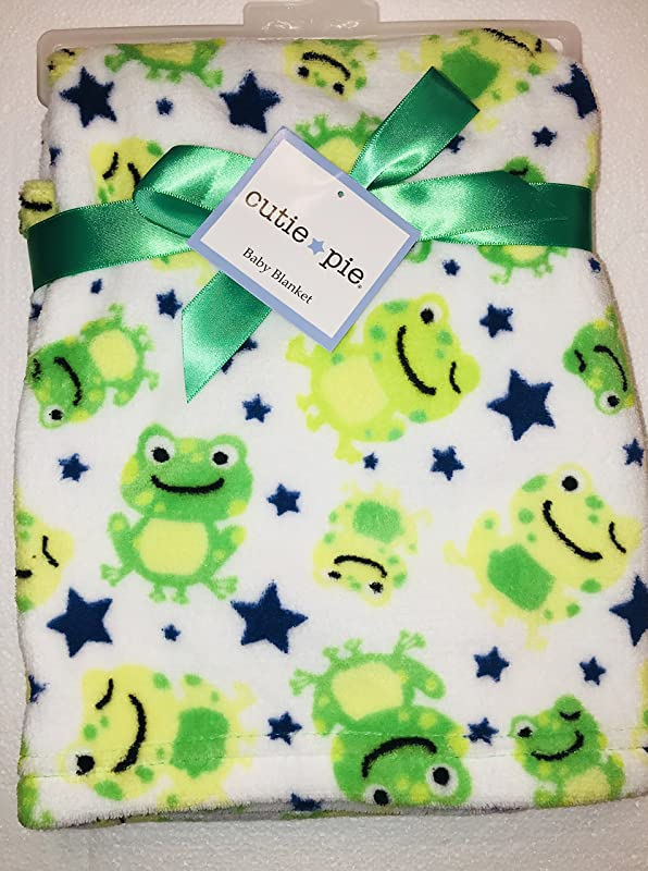 Cutie Pie Baby Super Cute Soft Baby Blanket With Frogs White