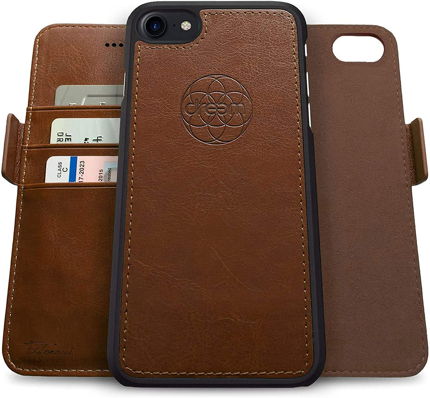Dreem Fibonacci 2-in-1 Wallet-Case for Apple iPhone SE 2020 & 8/7 - Luxury Vegan Leather, Magnetic Detachable Shockproof Phone Case, RFID Card Protection, 2-Way Flip Stand - Chocolate