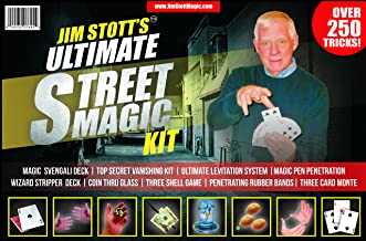 Jim Stott's 'Ultimate Street Magic Kit, Magic Tricks Set for Adults, Svengali Card Deck, The Ultimate Levitation System, Secret Vanishing Device, Penetrating Rubber Bands, Coin Thru Glass, and More