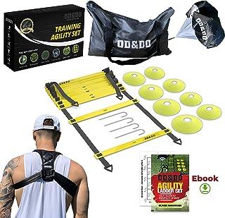 ODDO Agility Ladder Speed & Resistance Training Equipment Set for Basketball/Baseball/Soccer/Football - Running Parachute, Cones, Upper Back Brace - Speed and Agility Training Kit for Kids & Adults