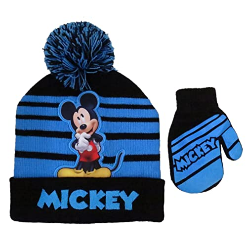 Disney Mickey Mouse Striped Winter Beanie Hat and Mitten Set - Size Boys 2-5 de0a332ae09